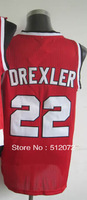#22 Clyde Drexler Men's Authentic Road Red Throwback Basketball Jersey