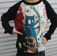 East Knitting OT-013 harajuku style hoodies Monster cartoon print sweatshirts Lovely long sleeve pullovers Black