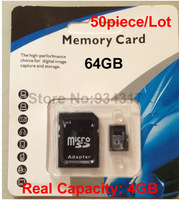 50piece/lot Micro SD SDHC card 64gb 4gb Class 10 C10 Writing Speed:4mb/s Free Shipping by DHL