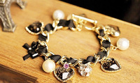 Min Order $10(mix order) free shipping new arrival trendy charm bracelet for women,Set auger bowknot peach heart pearl bracelet