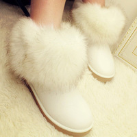 Winter thick snow boots white long-haired two ways wool-like imitated furs short waterproof boots