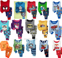 Retail Kids Girls Pajamas Cotton Cartoon Sleepwear Children Sleepwear Full Sleeve + Pant 2-7Y 2pcs/set