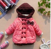 baby girls winter coat with dot hooded lovely bow double-breasted jacket free shipping for 1-4 years old
