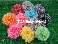 "Hot selling 3.2"" chiffon chevron hair flowesr,baby hair flower,hair accessories,40pcs/lot free shipping"