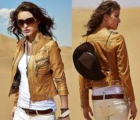 kim kardashian Celebrity Women Punk Motorcycle Moto Studs Rivet Lapel Jacket Coat Leather Zip Blazer  brown coffe