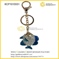 Free shipping Fashion zinc alloy keychain key ring crystal rhinestone blue fish keychain