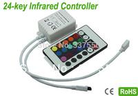 2014 New 10pcs/lot DC12V-24V 6A  24keys IR Wireless remote RGB Controller 12V/72W 24V/144W for SMD5050 3528 RGB Led strip light