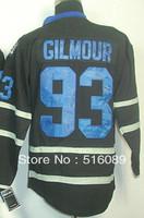 Free shipping!Cheap #93 Doug Gilmour ice black hockey jersey, Embroidery logos men's ice hockey jerseys