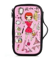 Layered character Women Zipper Cosmetic Case Bag Makeup Purse