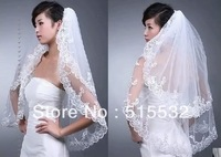 Custom Made Double Layer Appqulies Bridal Veil al4595