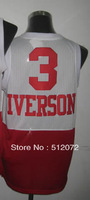 #3 Allen Iverson Men's Authentic White Red Throwback Basketball Jersey