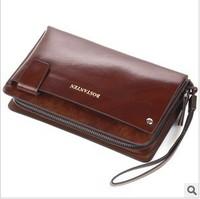 Free Shipping Fashion Zipper Clutch Business Casual Cowhide Man HandBag High Quality Male Clutch Bag Large Capacity
