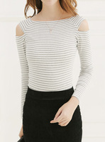 Cotton sexy sweet elegant strapless slim tight fitting female long-sleeve t-shirt basic stripe shirt top