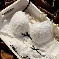Water soluble embroidery white bride push up bra set deep V-neck thickening 3 breasted underwear