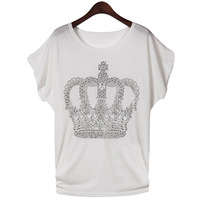 2013 short-sleeve T-shirt female t31x o-neck rhinestones pattern batwing sleeve women's short-sleeve T-shirt