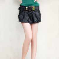 This women's 2013 autumn fashion high quality PU culottes shorts female