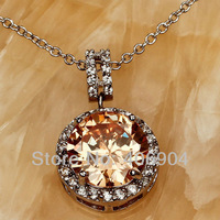 Wholesale Round Cut Morganite & White Sapphire Silver Chain Pendant Necklace  Facile Design Noble European Jewelry