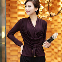 New arrival 2013 women's slim V-neck long-sleeve T-shirt patchwork black red formal autumn