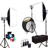 New Set 750W GODOX STROBE STUDIO FLASH LIGHTING KIT SOFTBOX UMBRELLA TRIGGER BAG 3x250W 250DI