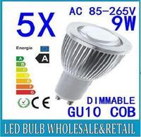 6X Free shipping 85-265V dimmable 9W GU10 COB LED lamp light led Spotlight White/Warm white led lighting lamp