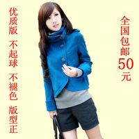 Women's vintage stand collar slim plus size woolen short jacket short design coat female woolen outerwear
