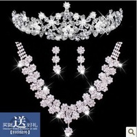 The bride necklace chain sets married rhinestone earrings necklace accessories piece set accessories set