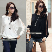 Autumn white long-sleeve chiffon shirt puff sleeve top plus size clothing clothes basic shirt t-shirt