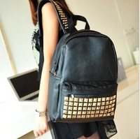 printing backpack Backpack female bags casual vintage small fresh PU rivet school bag  mochilas