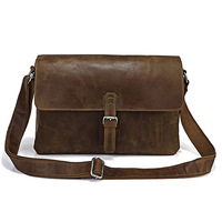 Genuine Leather Dark Brown Business Briefcase 2013 Best Messenger Bag  5PCS/LOT # 7084R