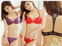 2013 New Fashion Women Sexy Y-line Straps Front Closure Push Up Lace Embroidery Bra Set 9 Colors Free Shipping