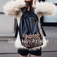 Free Shipping 2013 Korean Style leopard rivet pu backpacks schoolbag shoulder bag wholesale Students' backpack