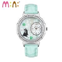 MN983S MINI watch 3D Pairswatch DIY Handmade Genuine Leather Quartz Ladies watch 1pc+free shipping