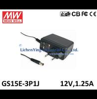 MeanWell 15W 12V 1.25A Single Output Wall mounted type Green Adaptors GS15E-3P1J 2 pole European plug Adapters TUV CB CE FCC