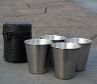 New Arrival 80ml Water Cup Set 4 Cups & 1 Bag Stainless Steel Drinking Cup Hip Flask Cups Drop Shipping