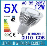 5X Free shipping 85-265V dimmable 12W GU10 COB LED lamp light led Spotlight White/Warm white led lighting