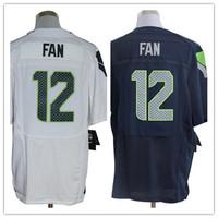 2013 new Men 12 12th Fan blue white elite  American football Jersey,Cheap mens Sports Jersey,Embroidery logos,Mix order