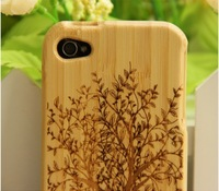 Hot Fashion bamboo  Hard Back Case Cover  for iPhone 4