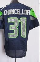 2013 new Men 31 Kam Chancellor blue white elite  American football Jersey,Cheap mens Sports Jersey,Embroidery logos,Mix order