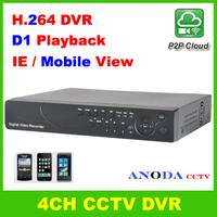 4CH Full D1 Recording / Playback H.264 DVR P2P Cloud 3G Mobile View Iphone View Surveillance CCTV Video Recorder