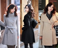 2013 Hot Sell ! Korea Style Women OL's Slim Fit Stand Color Mix Wool coat+free shipping