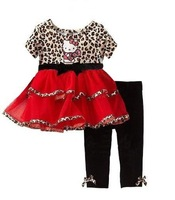 The latest and hottest girl summer kimocat (hello kitty) leopard print skirt and leggings 2 pcs suit free shipping 5 sets/lot