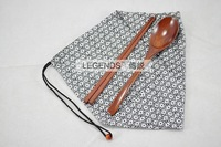 2pcs/set fashion home supplies wooden chopsticks spoon with black bag  free shipping