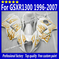 Body work for 1996-2007 SUZUKI GSXR 1300 fairing GSXR 1300 fairings 96-07 orange flame in glossy white with 7 gifts si39