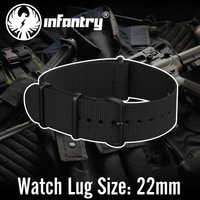 Infantry Army Style Sport 22mm G10 NATO All Black Nylon Fabric Wath Band Straps Stainless Steel Buckle Durable New Watchbands
