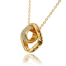 LN630 New 2013 Items 18K Yellow / Rose / White Gold Plated Square Crystal Link Circle Pendant Necklaces Women Jewelry Accessory