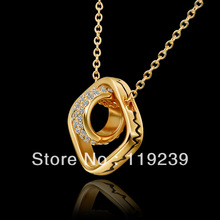 LN630 New Item 18K Yellow Rose White Gold Plated Square Crystal Link Circle Pendant Necklaces Bijoux