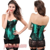 Green Sexy Women's lady's Classical Overlay Fashions Corset Top Bustier Free Shipping