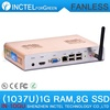 reliable fanless mini pc 1G RAM 8G SSD alluminum with Intel Celeron dual-core C1037U 1.8GHz HD Graphics L3 2MB NM70 Chipset