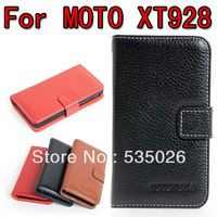 Flip Leather Case ,Genuine Leather Cover Shell With 3 Card Holdersty For Motorola XT928,Free shipping