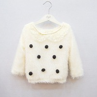 Free shipping New 2013 Autumn new girl lace Maomao ball head and a wool coat